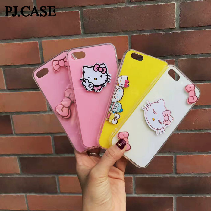 Cute Cartoon Hello Kitty Skin For Girls Ultra Thin Hybrid Soft Back Cover Case For iPhone 6 6S Plus 7 7 Plus Capa Coque Shell(China (Mainland))