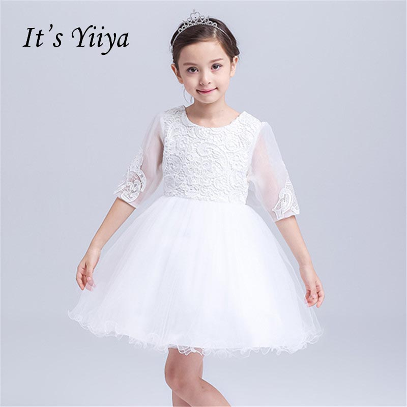It's yiiya White Half Sleeves Flower Girl Dress Normal For Party Wedding Girls Dress Lace Bow Zipper Ball Gown Kids Dress S010