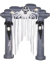 big inflatable halloween graveyard arch with lighting Bat and skull holiday party product(China)