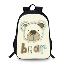 BAOBEIKU New Bear illustrations Cartoon 3D Backpacks Fashion Children School Bags For Girls Boys Men Book Bag Kids Bags DropShip(China)