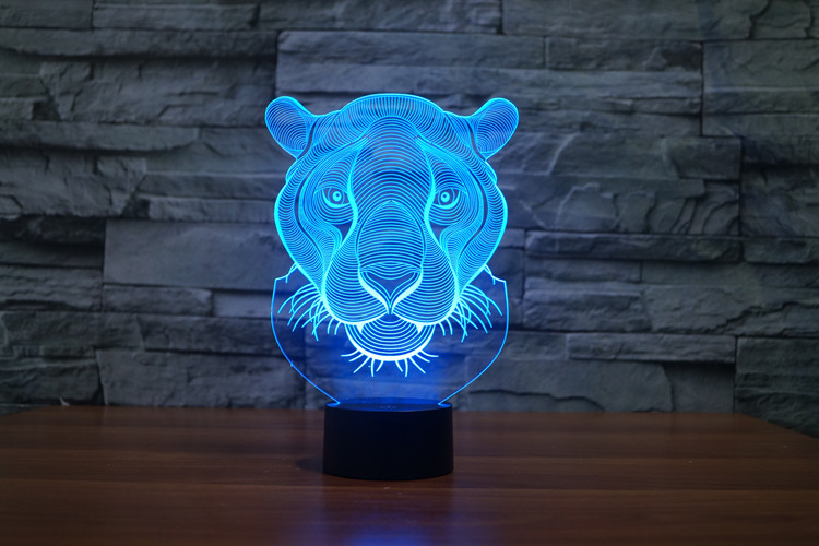 Lion Head 3D Glow LED Lamp Touch Switch Art Sculpture Lights Unique 7 Colors Lighting Effects and 3D Awesome Gift (4)