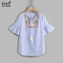 Dotfashion Tasseled Tie Embroidered Yoke Fluted Sleeve Blouse Summer Tie Neck Half Sleeve Boho Blouse Ladies Blue Tops(China)