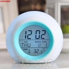 GOHAND New Nature Sound 7 Color Digital LED Glowing Change Thermometer Clock Alarm Hot