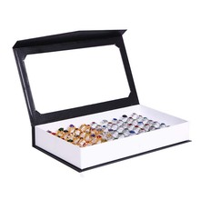 Free Shipping Organizer Show Case Jewelry Display Rings Holder Box New Black 72 Slots Ring Storage Ear Pin Display Box Case