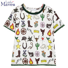 Little maven kids brand clothing 2017 new summer boys short sleeve O-neck t shirt Cotton fashion printing brand tee tops 50850