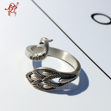 Handmade sterling silver ring jewelry for women,thai silver Retro peacock ring Women vintage ring,birthday gift freeshipping(China)