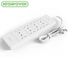 NTONPOWER 5 Port 2.4A USB Fast Charger 8-Outlet UK Plug Socket Power Strip Smart Surge Protector for Cellphone 1.5M Power Cord