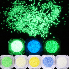 BORN QUEEN 3g Luminous Nail Glitter Stones Luminescent Particle Glow in the Dark 3D Manicure Nail Art Ornaments Decorations(China)