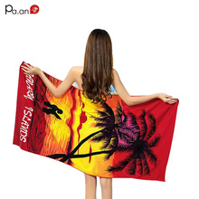Top Quality Microfiber Fabric Big Towel Coconut Tree Printing Beach Towel Quick-dry Rectangle Women Beach Towel Super Absorbent