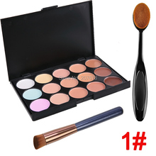 15 Color Concealer Palette Oval Makeup Brush Oblique Hair Foundation Make up Brush Contour Pallete Face Cream Kit