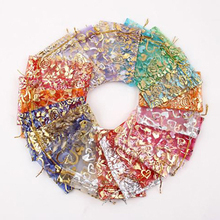 New 100Pcs/pack 7x9cm/10x12cm Heart Flower Leafs Mixed Color Organza Jewelry Pouch Wedding Party Favor Gift Bag