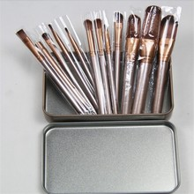 12pcs/set Professional Blush Eyeliner Contour Lip Highlighter Brush Foundation Makeup Brushes Oval Fan Brushes Good Quality(China)