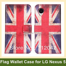 National Flag Flip Cover Case for LG Nexus 5 E980 PU Leather UK USA Flag Wallet Case for Google Nexus 5 Free Shipping(China)