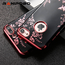 Luxury Plating Soft TPU Case For Apple Iphone 6 6S Plus 7 7 Plus Flowers Butterfly Electroplating Rubber Back Covers for iPhone6(China)