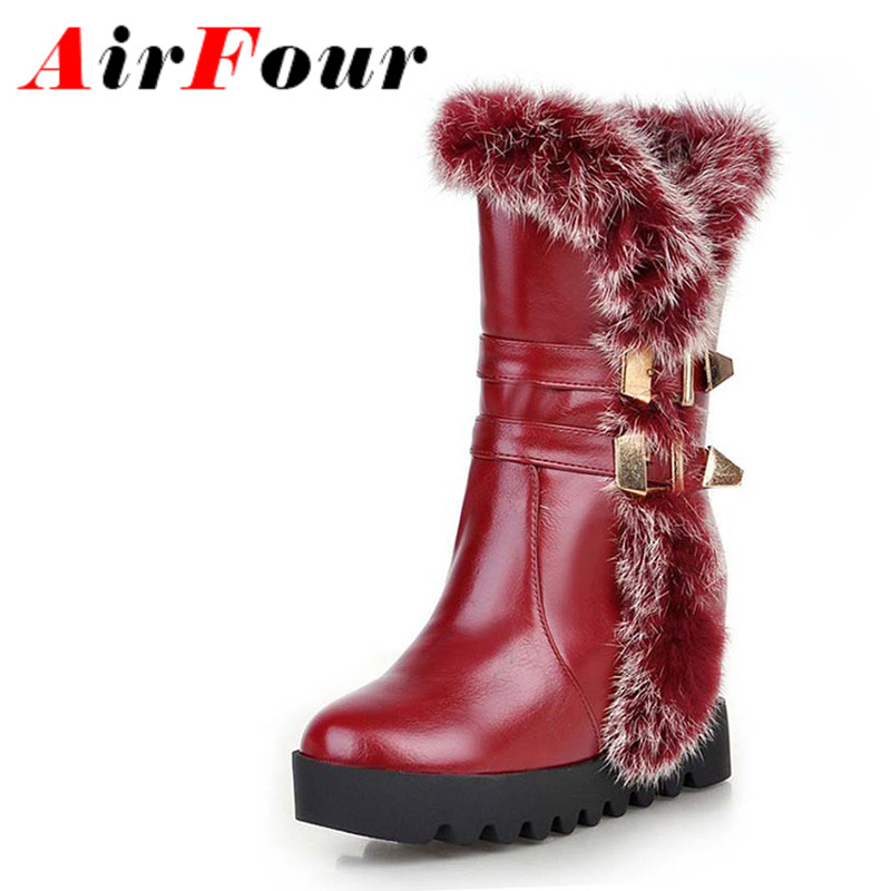 Airfour New Women Warm Fur Half Boots for Shoes Round Toe Buckle Shoes Boots Motorcycle Boots Zip Mid-Calf  Winter Snow Boots<br><br>Aliexpress