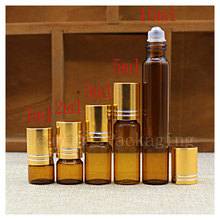 Wholesale Brown Essence Fluid  Roll Ball Bottle,Female Beauty Skin Care  Packaging Bottle,Exclusive Use Container Facial Massage