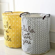 "Cotton Linen Laundry Basket ""make me smile"" Letter Print Foldable Toy Orgnizer Storage Bag Fold Bin Free Shipping BD-8(China)"