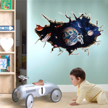 3D Outer Space Planet Wall Sticker For Kids Room Decor Galaxy Astronaut Mural Decals Home Living Room Decoration Removable(China)