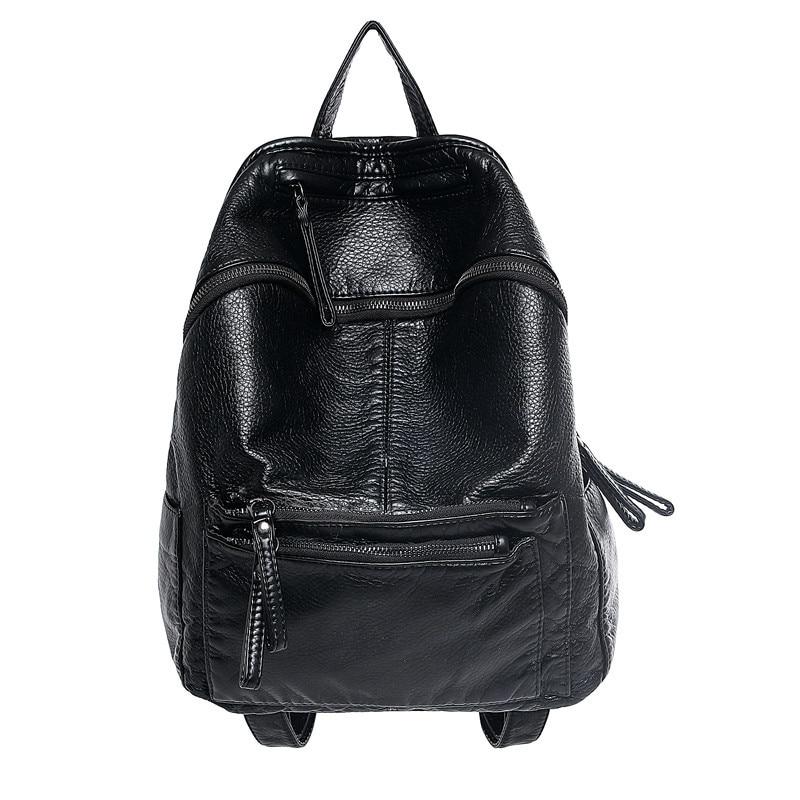 Womens PU Leather Backpack Fashion Soft Waterwash Design mochila feminina Black Grey School Bags for Teenagers Rucksack Women<br><br>Aliexpress