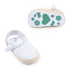 2017 Newborn Baby Girl Shoes Brand white baptism Toddler Infant Fabric Baby Booties Baby Walker First Walkers Shoe(China)