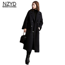 Women Autumn Winter Woolen Coat 2018 New Fashion Lapel collar Mid-long Wool Blend Jacket Black Loose Big yards Overcoat NZYD245(China)