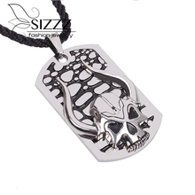 Stainless Steel Skull Dog Tag Pendant Biker OX Horn Mens Pendant Necklace Silver Black Men Jewelry(China)