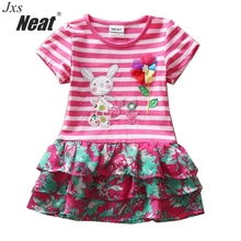 Retail Free shipping NEAT New 2018 baby kids lovely entity rabbit applique beads embroidery girls dress 100% cotton H4650(China)