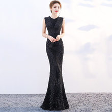 Black Sequined O Neck Sleeveless Long Mermaid Elegant Cocktail Party Dresses  Women Sexy 2018 Clubwear Hot Formal Luxury Dress e077f9172a14