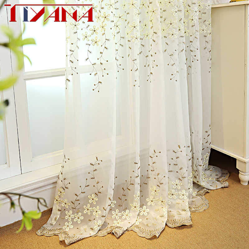 Embroidered Flower White Tulle Curtains For Living Room Beige Sheer Curtains For Bedroom Finished Voile Curtain Drapes wp273&2