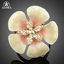 AZORA Unique Design Romantic Light Yellow Fllower Handmade Oil Painting Crystal Adjustable Finger Rings TR0176(China)