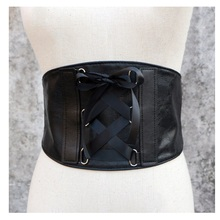Vanled New Women Ultra Wide Corset Belt Elastic Slim Tied Black Belt Faux Leather Punk Waist Trainer Cummerbund Girdle Accessory