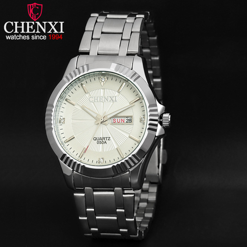 CHENXI Brand Relojes Hombre Date Day Display Clock Man Stainless Steel Watch Mens Fashion Watches Quartz Male Wristwatch Montres<br><br>Aliexpress