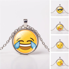 2016 Fashion Cute Emoji Jewelry Classic Glass Cabochon Silver Chain Necklace Pendants  Collares  For Women Gift