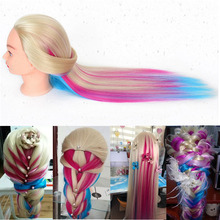 24inch Long Hair Hairdressing Training Head Model with Clamp Stand Practice Salon Doll Mannequin Head(China)
