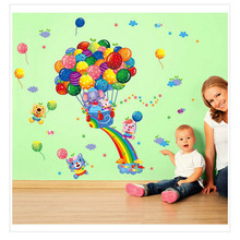 2017 Hot Air Balloons Cartoon Wall Stickers For Children Bedroom Decoration DIY Decoration Accessories muraux pour enfants cham(China)