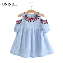 UNINICE Summer Girls Dress 2017 Design Kids Clothes For Girls Fashion Strapless Embroidery Printing Dress Princess Girl Clothing