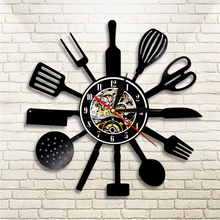 1Piece Kitchen Knife Fork Spoon Led Lighting Cooking Set Vinyl Wall Clock Vintage Home Decor LP Handmade Wall Art Clock(China)
