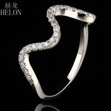 HELON Diamonds Band ! Solid 10K Yellow Gold Pave Natural Diamonds Engagement Wedding Fine Ring Fashion Jewelry Women's Ring