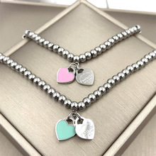 2018 Fashion Stainless Steel Luxury Brand Love Small String Bead Pink Blue Heart Bracelet Bangle Woman Party Gift(China)