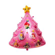 Christmas Tree Foil Balloon Lovely Printed Christmas Mylar Balloon for Merry Christmas Party Decoration (Pink)