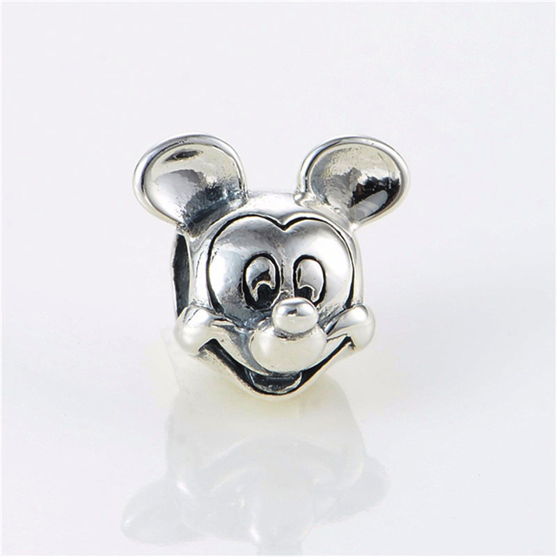 2017 New Free Shipping 1Pc Silver Bead Charm European Silver With Mickey Cartoon Charm Pendant Bead Fit Pandora Bracelet Gifts (1