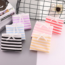 Buy jamular Women's Candy Color Stripes Briefs Ladies Bow Lolita Panties Triangle Underpants Knickers Girl's Intimates Lingerie