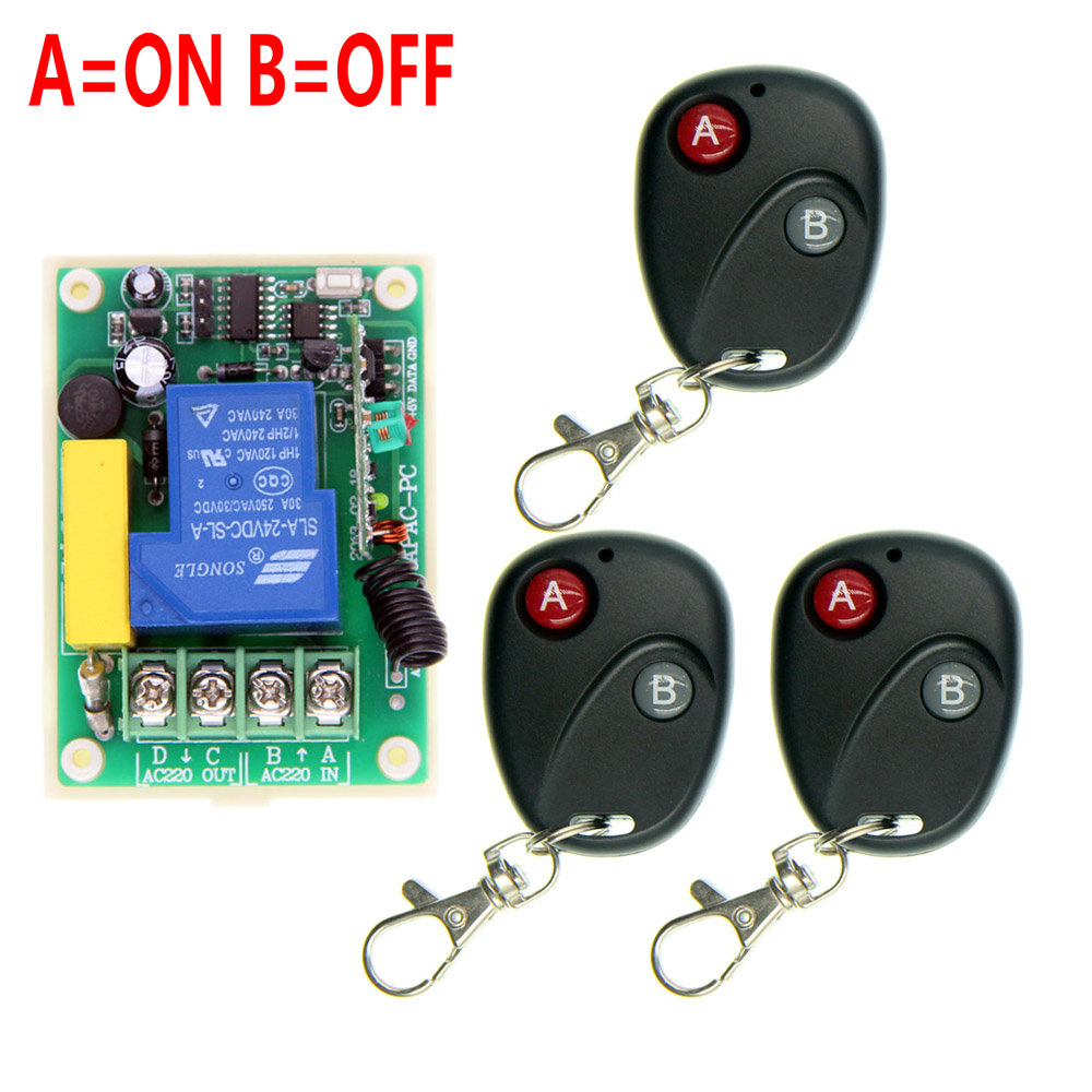 AC 220V 30A Relay 1 CH 1CH RF Wireless Remote Control Switch System,315/433.92 3 X Transmitters + Receiver,Latched (A-ON,B-OFF)<br><br>Aliexpress