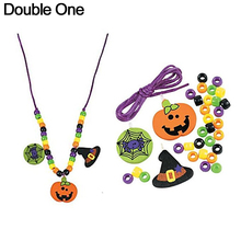 50 kits Halloween Necklace Craft Kits Wood Pumpkin Spider Hat Charms Plastic Beads Pendant Necklace Jewelry for Child(China)