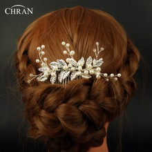 Chran Faux Pearl Hair Combs With Leaves For Brides Beaded Wedding Hairpiece Accessories For Women Clip Pin Jewelry CRH621