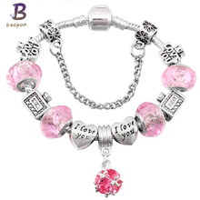 BAOPON Sliver Plated Charm Bracelets For Women With Nice Murano Beads Original pandora Bracelet for Women Jewelry Gift BR177