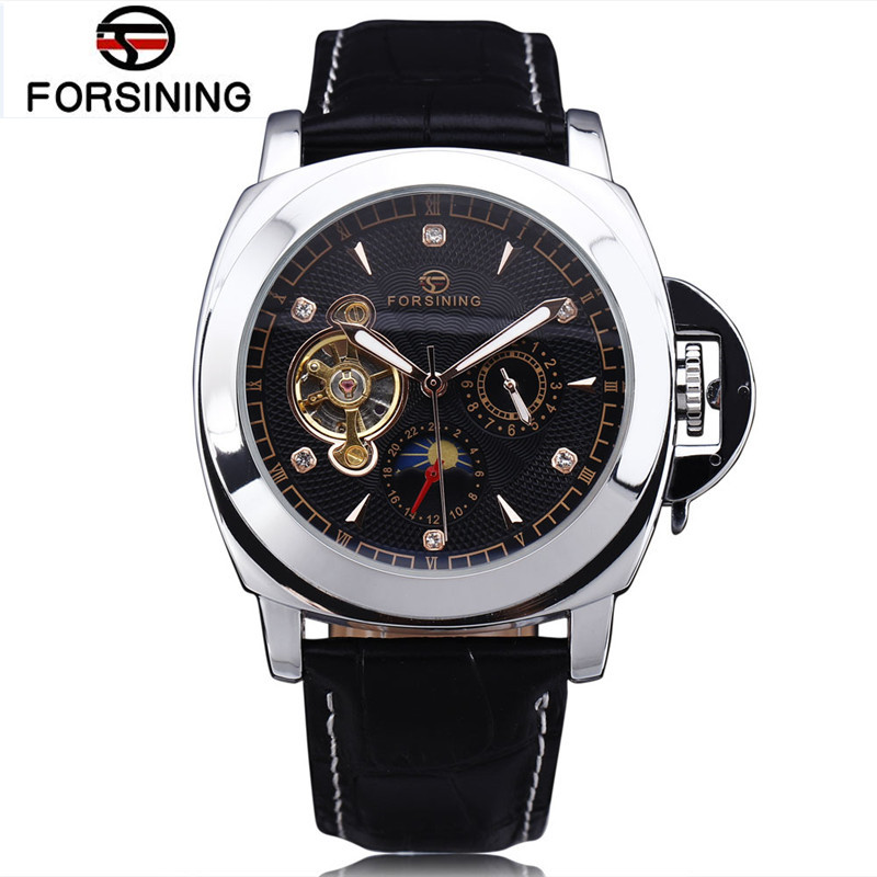 2017 New Forsining Mens Square Day Moonphase Auto Mechanical PU Leather Wristwatch Gift Box Free Ship  Gifts<br>