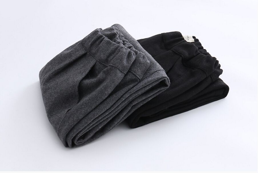 Casual Loose Pants Women Wool Elastic Waist Pants Love Embroidery Pattern Cotton Grey Black Trouser