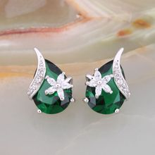 ZHE FAN Blue Green Earrings Stud AAA Cubic Zirconia Water Drop Queen Jewelry Earring For Female Makeup Party Valentines Day Gift