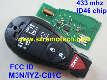 Free Shipping FCC: M3N/IYZ-C01C Smart Remote Key Fobik Keyless Fob Transmitter 5B+Panic for Dodge Chrysler 433MHz ID46 Chip
